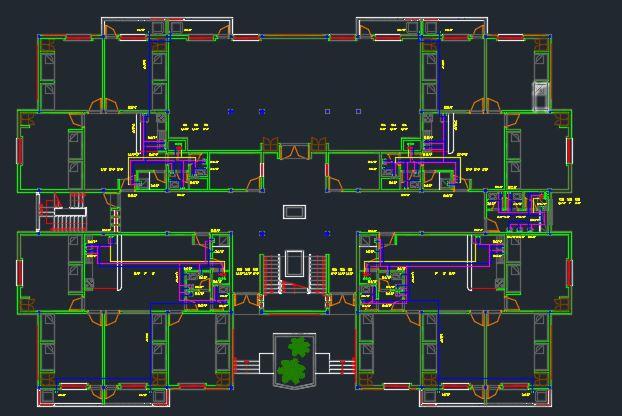 پروژه کامل تاسیسات ساختمان دو طبقه